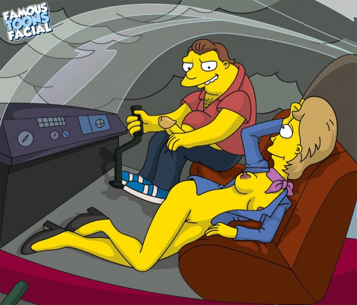 Goodcomix The Simpsons - [Famous Toons Facial] - Barney Gumble fucks Chloe Talbot in the helicopter