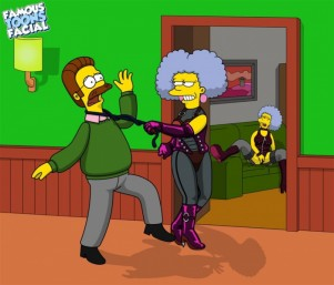 Patty and Selma Bouvier rape Ned Flanders 01