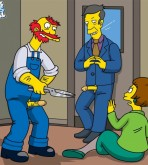 The Simpsons — [Famous Toons Facial] — Willie with Skinner fucks Edna Krabappel xxx porno
