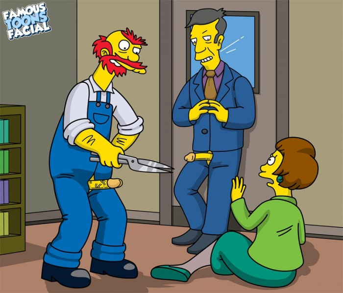 Goodcomix The Simpsons - [Famous Toons Facial] - Willie with Skinner fucks Edna Krabappel xxx porno