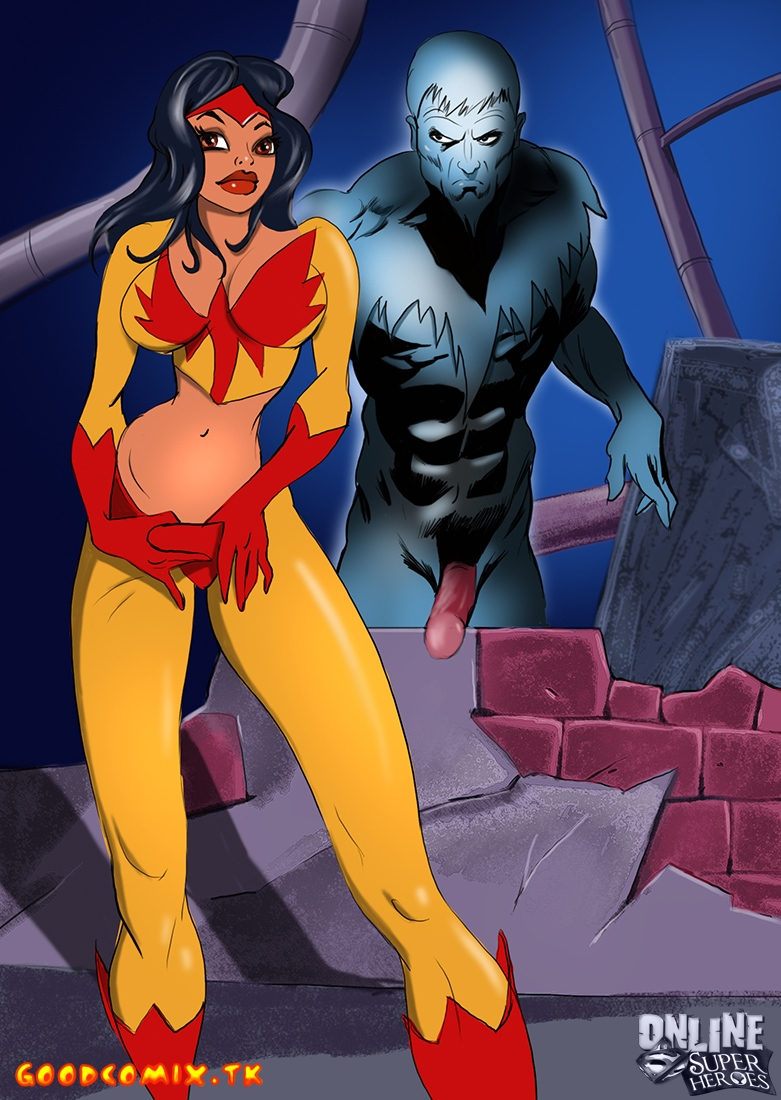 Goodcomix.tk DC Comics - [Online SuperHeroes] - Firebird uses her big tits to warm up Icicle