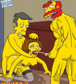 The Simpsons — [Famous Toons Facial][acme] — Willie with Skinner fucks Edna Krabappel