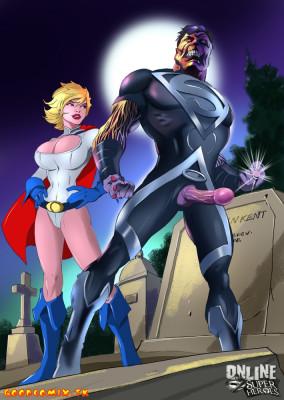 Goodcomix DC Comics - [Online SuperHeroes] - Kal-L (Black Lantern) Anal Fucks Power Girl In A Cemetery!