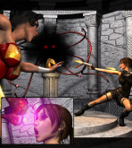 Crossover — [Mongo Bongo][3D] — Lara Croft and Wonder Woman Vs Terrible Overlord