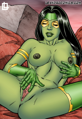 Goodcomix Guardians of the Galaxy - [Leandro Comics] - Gamora Pleasures Herself With a Yellow Cock Shaped Sex Toy!