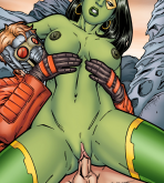 Guardians of the Galaxy - [Leandro Comics] - Gamora Bounces On Star Lord's Hard Cock!