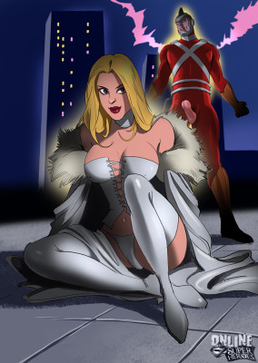 Goodcomix Crossover Heroes - [Online SuperHeroes] - Emma Frost Gets Anal And A Facial From Adam Strange
