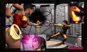 Goodcomix Crossover - [Mongo Bongo][3D] - Lara Croft and Wonder Woman Vs Terrible Overlord