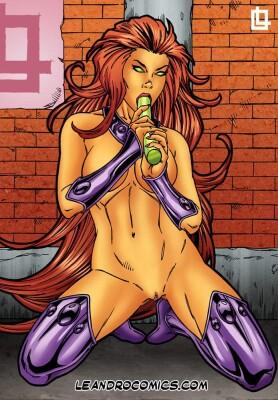Goodcomix The Teen Titans - [Leandro Comics] - Starfire Masturbates Herself With A Dildo